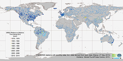 map of GRDC Climate Sensitive Stations