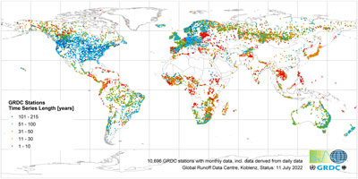 GRDC stations with monthly data, indicated by time series length