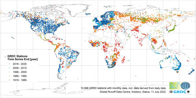 GRDC stations with monthly data, indicated by time series end