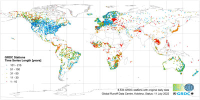 GRDC stations with original daily data, indicated by time series length