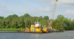A dredger on a river in operation